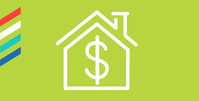 Box with icon of a house and dollar sign